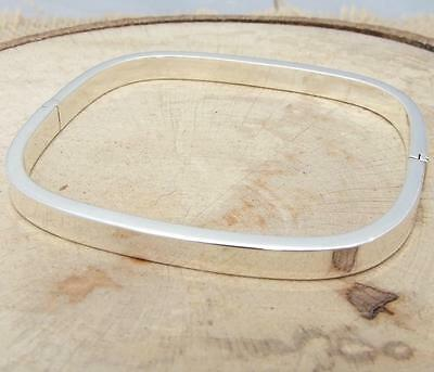 Plain 925 Sterling Silver Square Hinged Bangle Bracelet Jewellery
