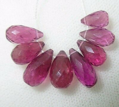 Faceted Rhodolite Garnet Full Teardrop Briolette Beads (8) 17.45cts