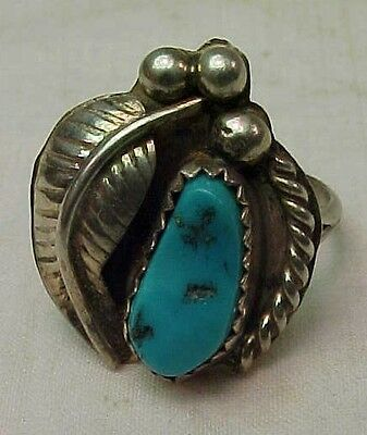 """Vintage Navajo Sterling Silver  TURQUOISE RING  Size 5.75   3/4"""""""