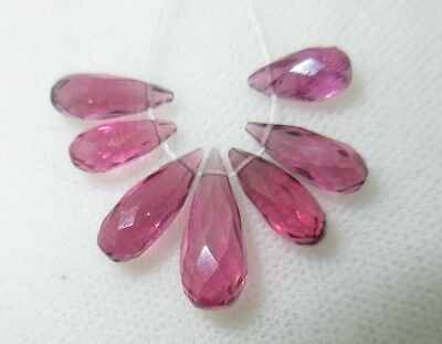 Faceted Rhodolite Garnet Full Teardrop Briolette Beads (7) 9.21cts