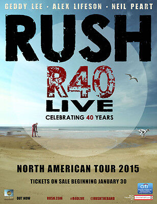 "Rush ""r40 Live Celebrating 40 Years North American Tour 2015"" Concert Poster"
