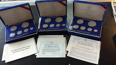 British Virgin Islands Royal Silver Jubilee Sterling Silver ProofSet (Lot of 3)