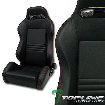 1X T-R Sport Blk Pvc Leather Red Stitch Reclinable Racing Bucket Seat+Slider T14