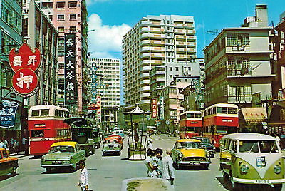 Kowloon,Hong Kong,China,Jordan Rd.Junc.Betw.Nathan Rd.& Ferry,VW Bus,c.1960-70s
