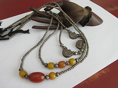 Vintage tribal silver metal beads and copal amber