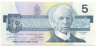 Bank of Canada 1986 $5 Five Dollars FPW UNC Stamped 1998 Edmonton CNA Show