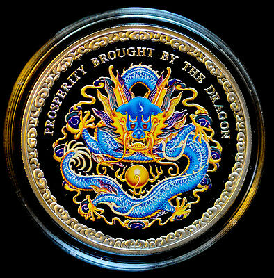 Cook Islands $5 Year of the Dragon Blue (Prosperity), 2012 1oz .999 Silver Coin