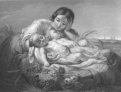 PRETTY YOUNG GIRL MOTHER HUGS NEW TWIN GIRL BABIES, Old 1859 Art Print Engraving