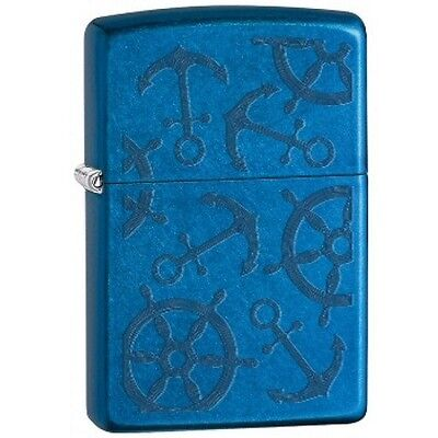 Zippo 29251 Iced Nautical Lighter Thin Powder Coating Illusion Blue Gift Box