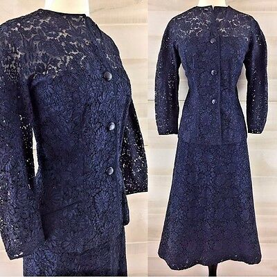 Vintage late 40s early 50s Ben Reig navy blue lace midi skirt suit jacket L