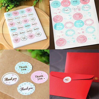 """Lots 120Pcs Oval """"Thank You"""" Label 25mm Seal Adhesive Sticker Gold Silver Stamp"""