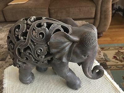 Stone Colored Wooden Resin Elephant Used 12 x 9