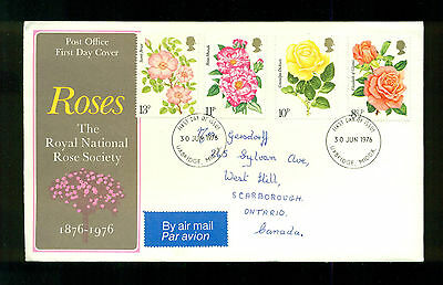 UK GREAT BRITAIN: Post Office First Day Cover ROSES 1976