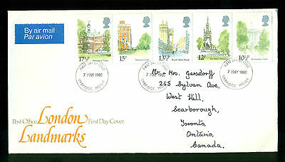 UK GREAT BRITAIN: Post Office First Day Cover LONDON LANDMARKS 1980