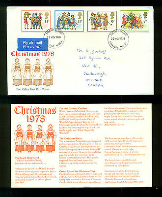 UK GREAT BRITAIN: Post Office First Day Cover CHRISTMAS 1978