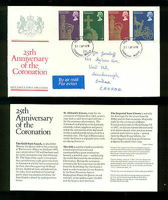 UK GREAT BRITAIN: Post Office First Day Cover 25th ANNIVERSARY CORONATION 1978