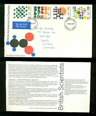UK GREAT BRITAIN: Post Office First Day Cover ACHIEVEMENT IN CHEMISTRY 1977
