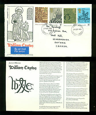 UK GREAT BRITAIN: Post Office First Day Cover WILLIAM CAXTON 1976