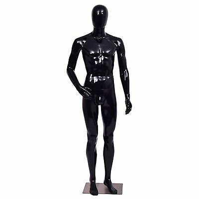 Male Mannequin Full Body Dress Form Display Plastic Egg Head High Gloss Black