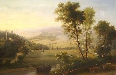 Fine Large 19th Century English Country River Landscape Antique Oil Painting