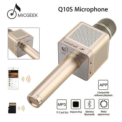 Genuine MicGeek Q10S Wireless Microphone Bluetooth Player Handheld For Ios Gold