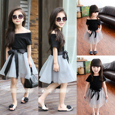 Fashion Toddler Kids Baby Girl Tops+Skirt Tulle Dress Party Wedding Outfit Dress