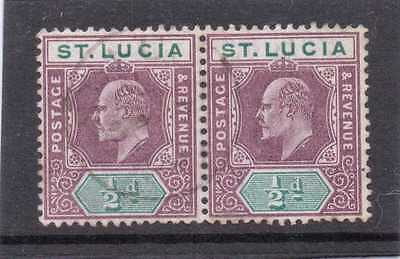 St.LUCIA EV11 1902-3 1/2d dl.purple&green pair sg 58 USED