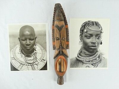 2 Photographic Prints of African Tribal Woman with Jewellery & A carved Mask A/F