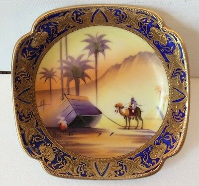 Early Camel China  Desert Pattern Pin Dish Green Backstamp And Signed By Artist