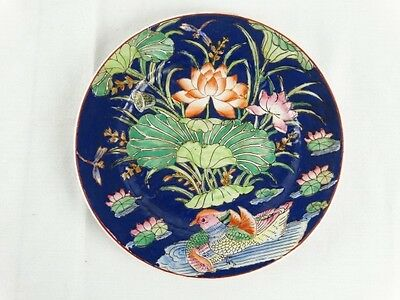 Vintage Chinese Polychrome Famille Rose Display Plate Hand painted Marks to base