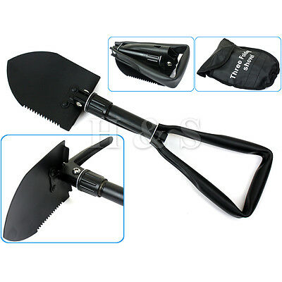 Army Military Folding Spade Shovel Pick Axe Camping Metal Detecting Mini Tool -A