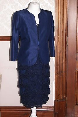Jacques Vert Dress Jacket Navy Blue Lace Outfit Wedding Mother of Bride BNWT 10