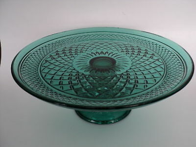 Anchor Hocking Wexford Emerald Green Convertible Cake Stand BEAUTIFUL