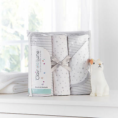 Clair De Lune Grey Stars & Stripes 3Pc Cot Bed Bedding Sheets & Blanket Gift Set