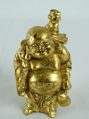 Vintage Chinese Red Lacquer Happy Buddha with applied Gold Leaf China Statue