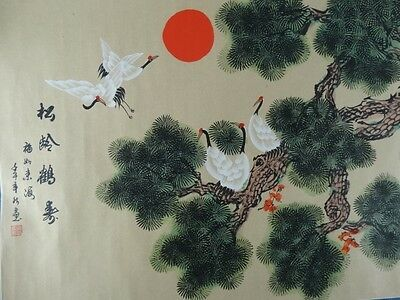 Art Sale : Vintage Chinese Landscape Scroll with Sacred Cranes Signed China