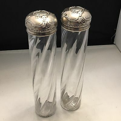 RARE Very Fine Pair SORMANI PARIS 1840 Sterling Silver Crystal Large Flasks-L692