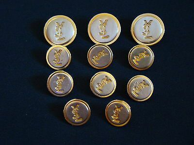 Ysl Yves Saint Laurent Set Of 11 Buttons.jacket/dress/blouse/cardigan/gold Color