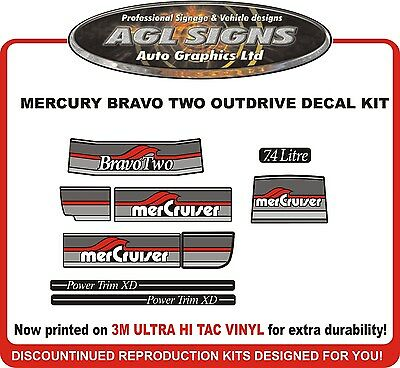 Mercury Bravo Two 7.4 Litre Outdrive Decal Kit   Mercruiser  reproductions