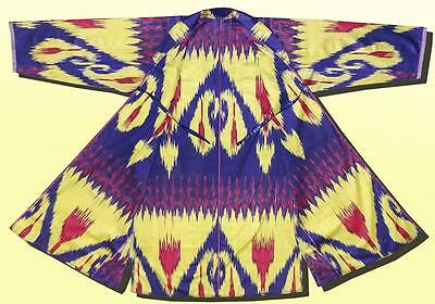 Beautiful Uzbek Hand Loomed Cotton Ikat Robe Chapan Jacket A9684