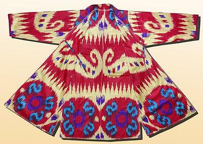 Beautiful Uzbek Hand Loomed Cotton Ikat Robe Chapan Jacket A9690