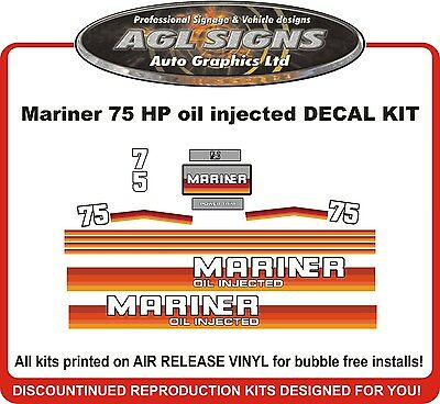 Mercury Mariner 75 hp Outboard Decal Kit  reproductions Oil Injected