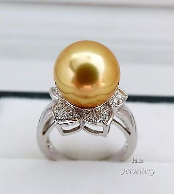 HS 13.01mm Golden South Sea Cultured Pearl & Diamond .30ctw Ring 18K White Gold