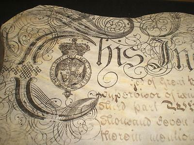 1754 Large Ornate Vellum Indenture, Newcastle, Tyne And Wear & Seals, A-Grade