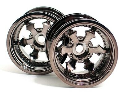 106571 Hpi Savage Xs Flux [#3084] Spike Truck Wheel(Black Chrome/2Pcs)