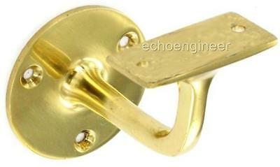 2 x SOLID POLISHED BRASS HANDRAIL BRACKETS or BANISTER BRACKETS