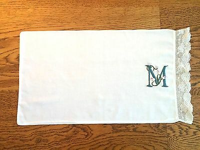"Antique Pillow Case (Small) Hand Embroidered Monogram ""M"" Old Lace Trim"