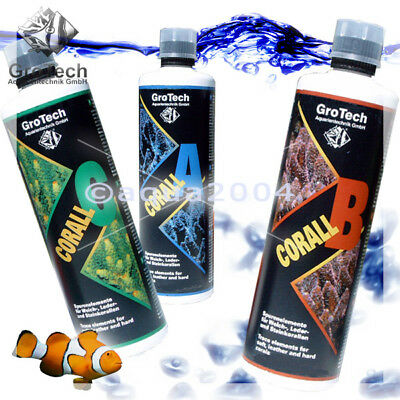 + Corall A + B + C Spurenelemente je 500 ml Grotech