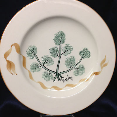 "Laurie Gates Los Angeles Pottery Herbs Parsley Dinner Plate 11 1/4"" Ribbon Leaf"