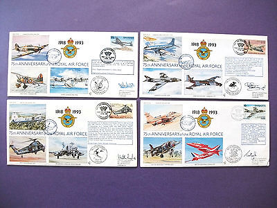 "4 x ""75th Anniversary of the Royal Air Force 1993 First Day Covers - all signed"